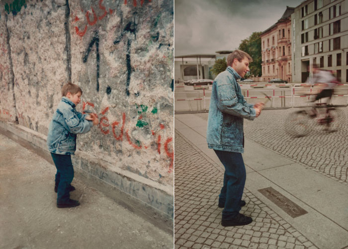 recreating childhood photos irina werning christoph 1990 2011 berlin wall Recreating Photos from Childhood