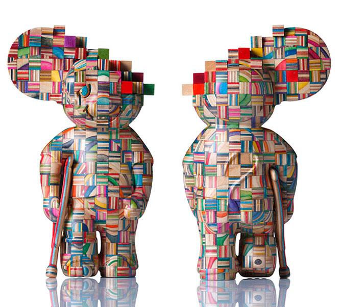 sculpture made from old skateboard decks haroshi 11 Sculptures Crafted from Old Skateboard Decks
