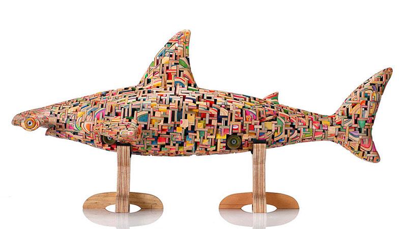 shark sculpture made from old skateboard decks haroshi 2 11 Sculptures Crafted from Old Skateboard Decks