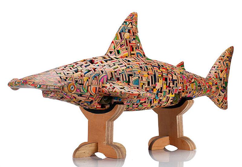 shark sculpture made from old skateboard decks haroshi 3 11 Sculptures Crafted from Old Skateboard Decks