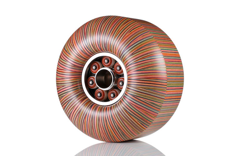 skateboard wheel made from old skateboard decks haroshi 11 Sculptures Crafted from Old Skateboard Decks