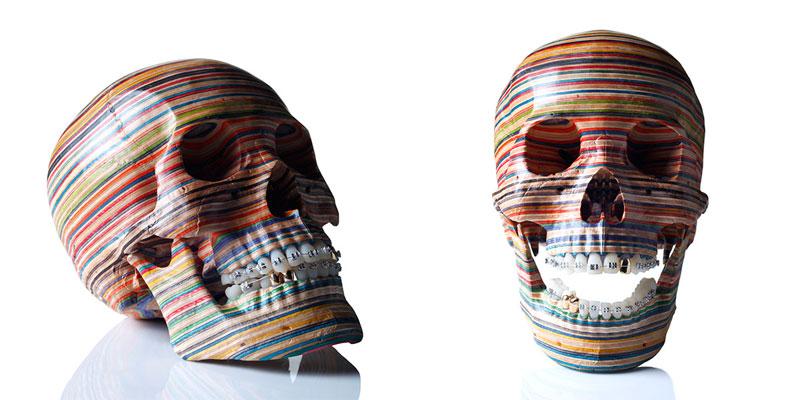 skull made from old skateboard decks harosh 2i 11 Sculptures Crafted from Old Skateboard Decks