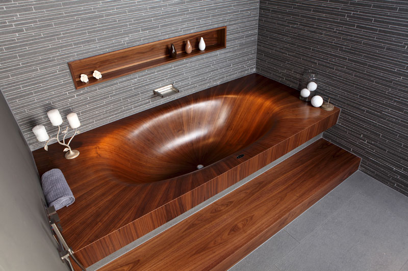 wooden bathtubs all wood baths by alegna 4 Furniture with Rivers of Glass Running Through Them