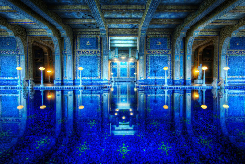 blue indoor tiled roman pool hearst castle Picture of the Day: The Roman Pool at Hearst Castle