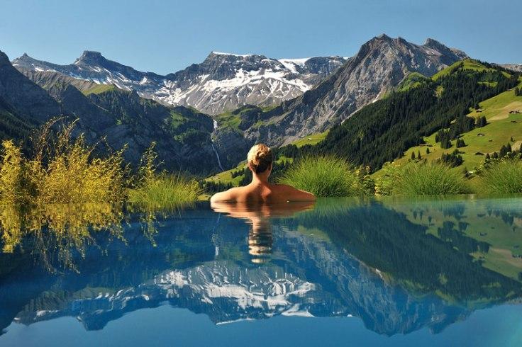 cambrian infinity pool view swiss alps adelboden switzerland