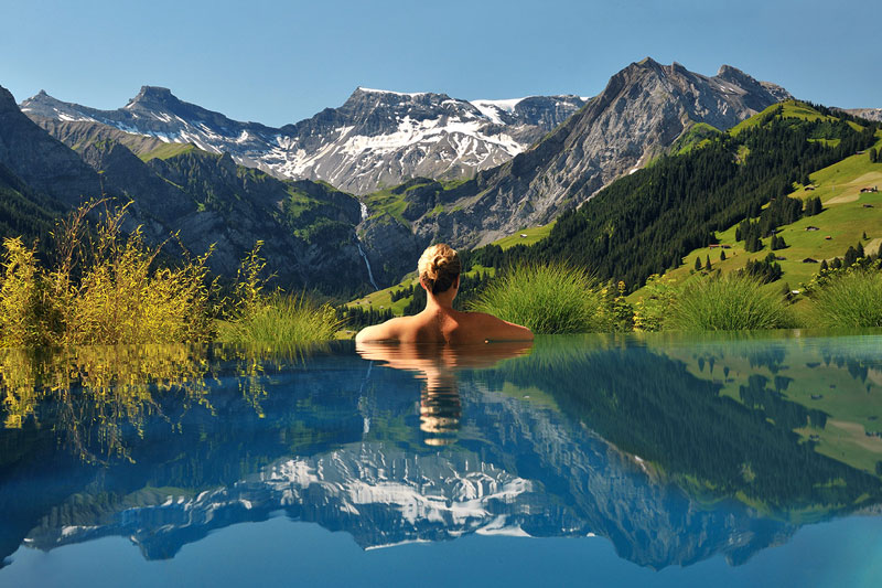 cambrian infinity pool view swiss alps adelboden switzerland