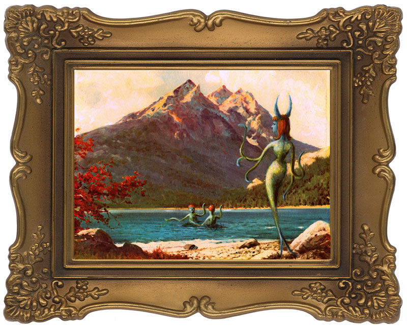 inserting monsters into thrift store paintings by thyrza segal (14)