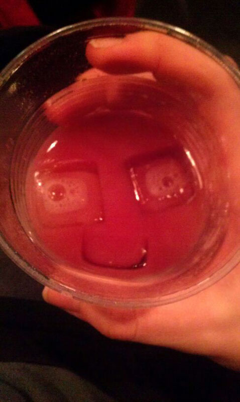 smiling face in drink ice cubes 50 Faces in Everyday Objects