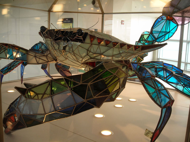 A 500 pound blue crab made from stained glass twistedsifter - Amazing stained glass fireplace screen designs with intriguing patterns ...