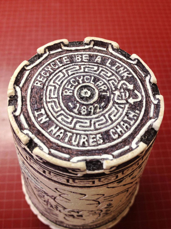 styrofoam coffee cup art with a pen inside and out william hersey (8)