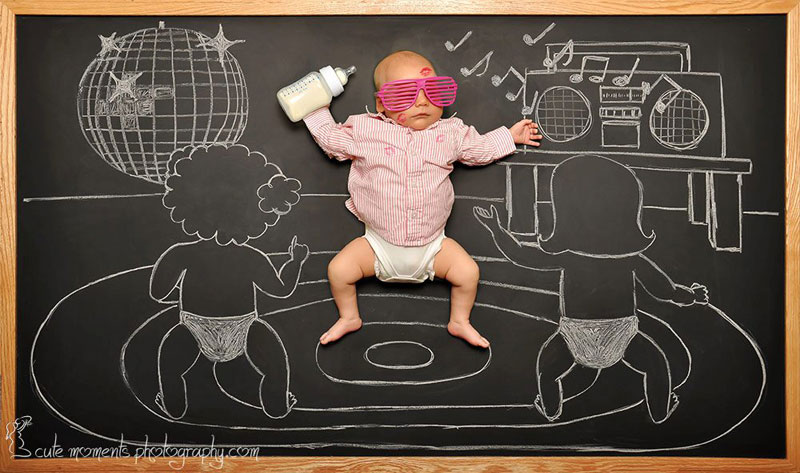 chalkboard advenutres of a newborn baby 8 Creative Dad Takes Adorable Portraits of Daughter