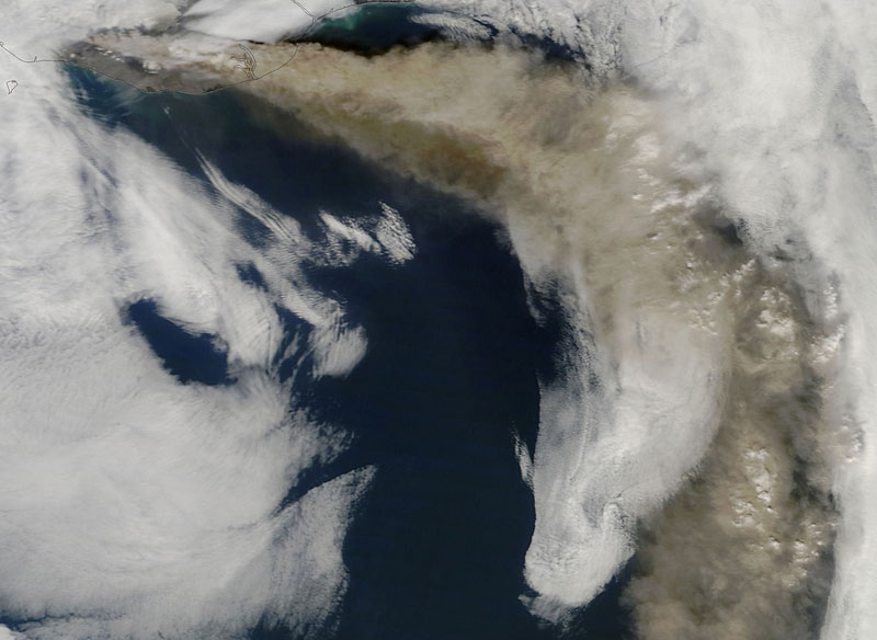 Eyjafjallajokull Volcano Iceland from space aerial nasa
