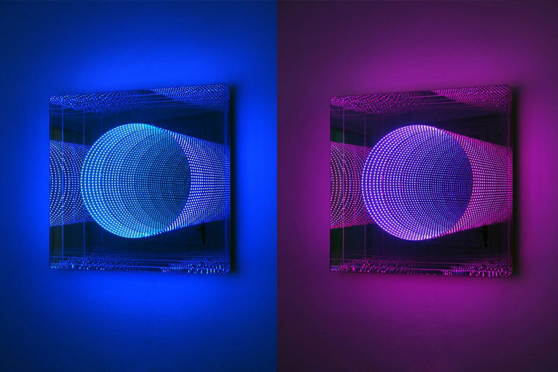 Infinite artworks made with plexiglas mirrors and leds for Miroir sans tain