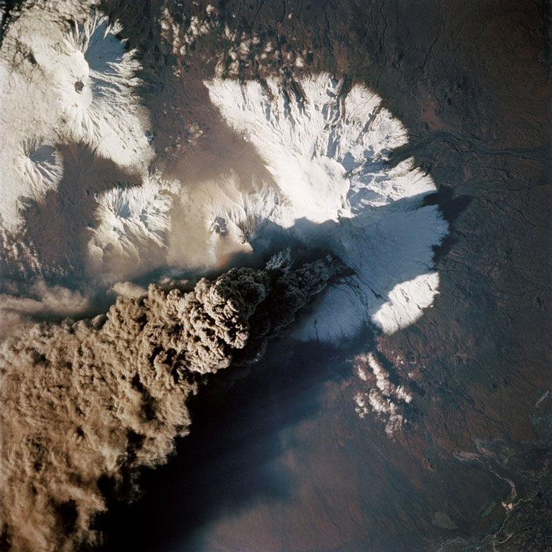 kliuchevskoi volcano kamchatika russia from space aerial nasa 2