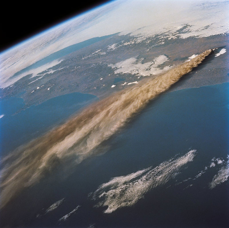 kliuchevskoi volcano kamchatika russia from space aerial nasa