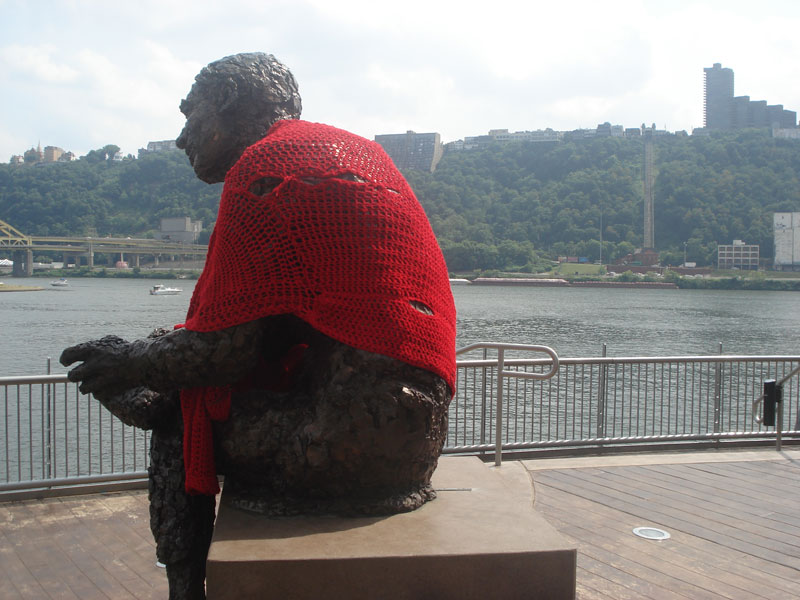 Someone Crocheted A Giant Sweater For This Mister Rogers Statue