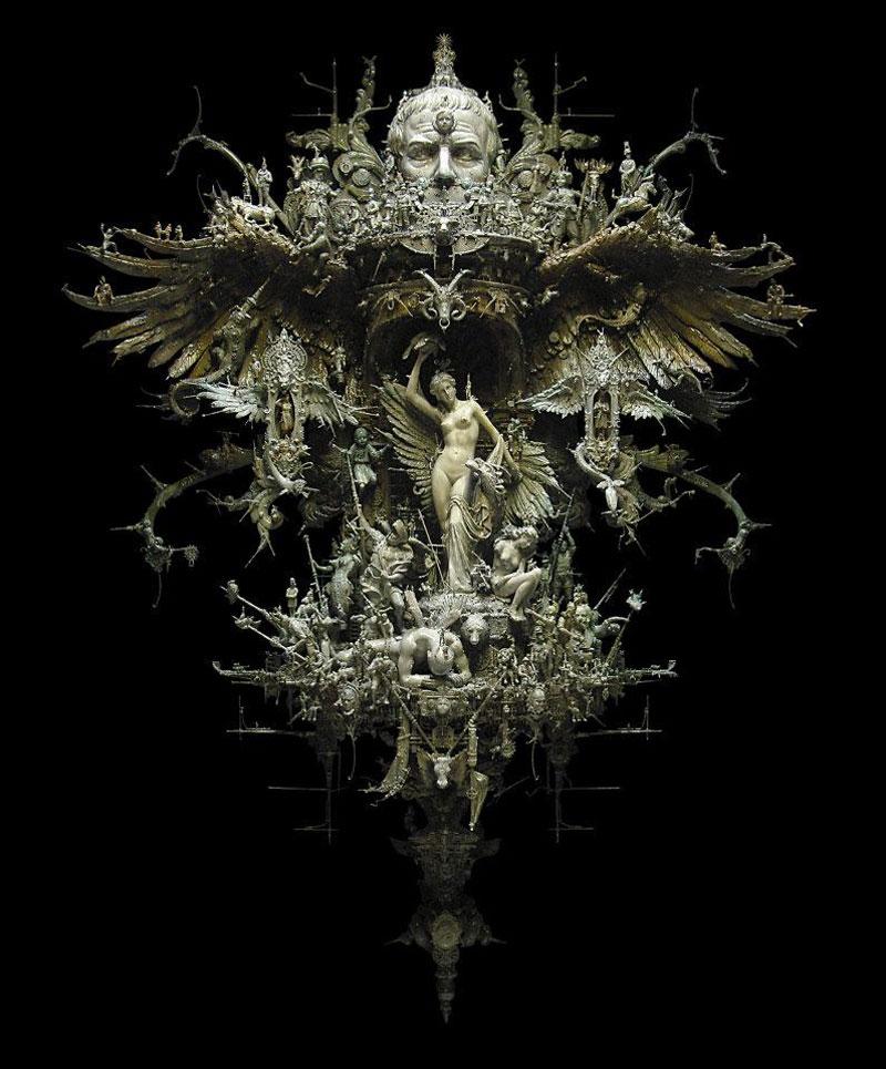 reign of caesar kris kuksi mixed media assemblage sculpture Mind Blowing Mixed Media Assemblages by Kris Kuksi
