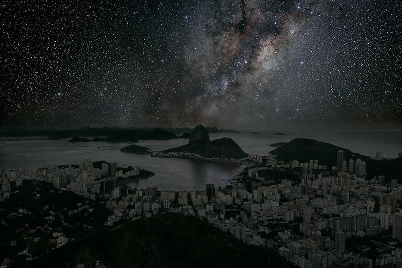 rio darkened cities by thierry cohen Night Time Landscape Photos Completely Illuminated by Moonlight