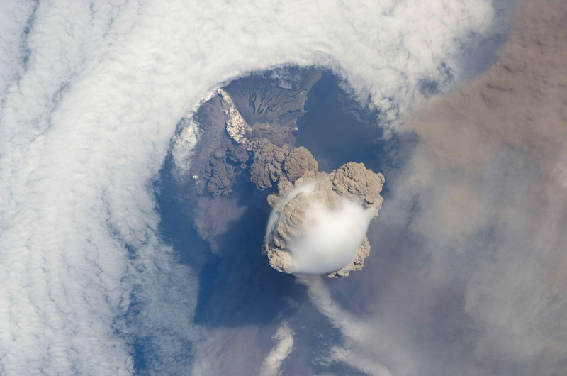 sarychev volcano russia from space aerial nasa