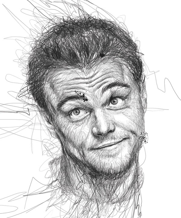 Scribble Drawing Celebrity Portrait By Vince Low : Portraits made from hundreds of scribbled lines «twistedsifter