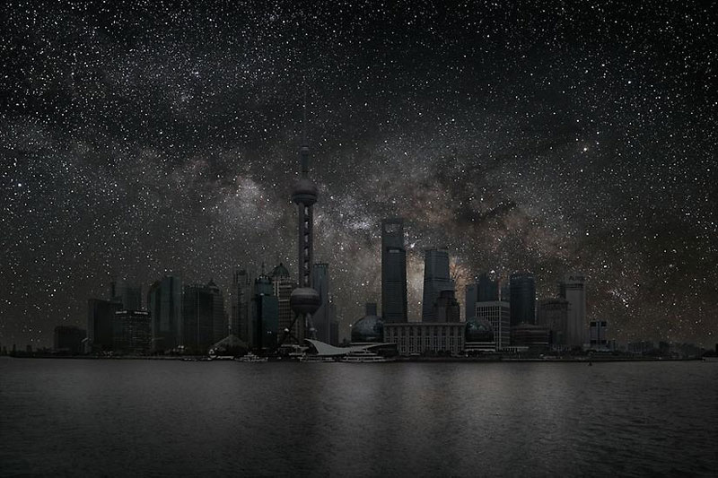 Shanghai darkened cities by thierry cohen