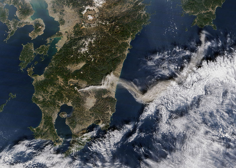 Shinmoe-dake Volcano Erupts on Kyushu from space aerial nasa