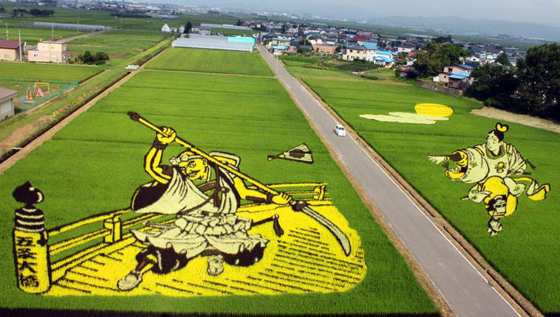 tanbo japanese rice field art 10 60 ft Rubber Duck Floats into Taiwan