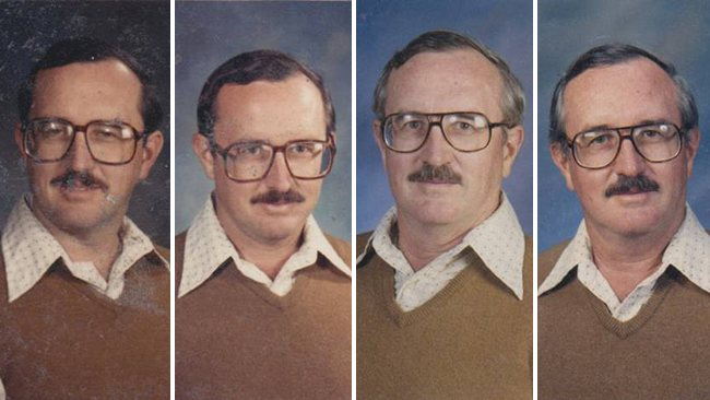 techer wears same yearbook photo outfit for 40 years (1)