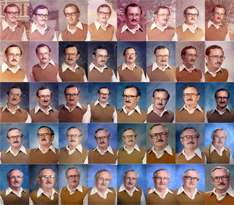 techer wears same yearbook photo outfit for 40 years 5 40 Weeks and a Camera