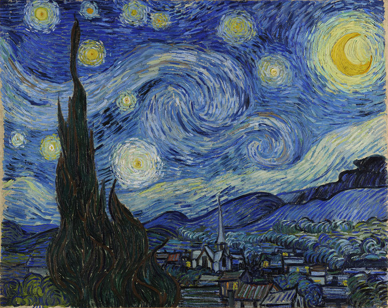 the starry night vincent van gogh 1889 moma painting Extremely Detailed Close Ups of Van Goghs Masterpieces