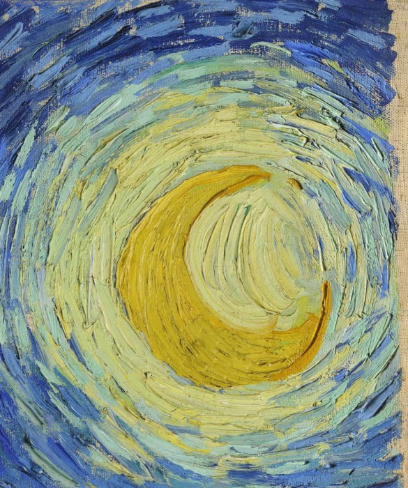 the starry night vincent van gogh close up 40 Hidden Artworks Painted on the Edges of Books