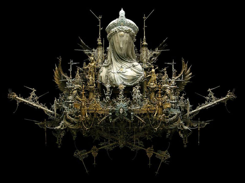 unveiled obscurity kris kuksi mixed media assemblage sculpture 2 Minas Tirith Made From 420,000 Matchsticks