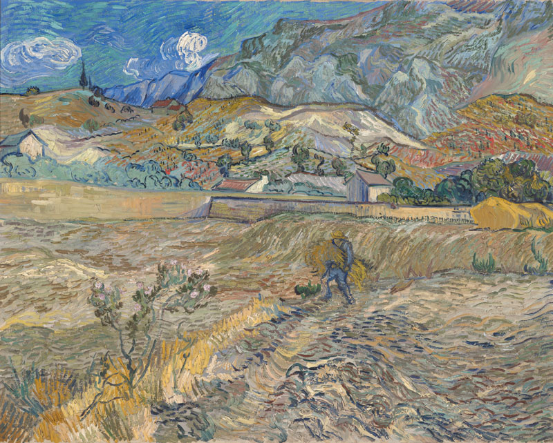 vincent-van-gogh-Enclosed-Wheat-Field-with-Peasant-Landscape-at-Saint-Rémy