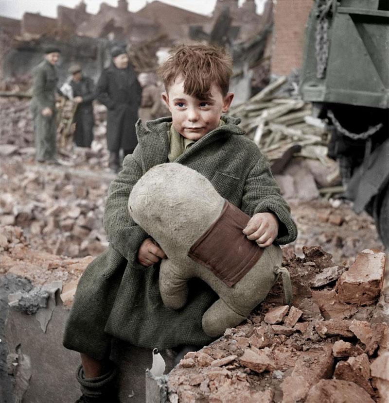 Abandoned Boy Holding A Stuffed Toy Animal