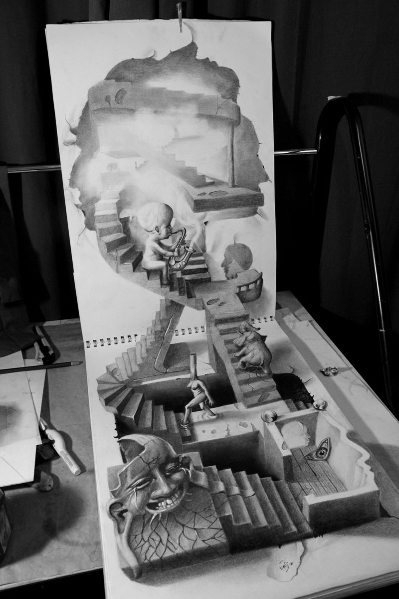 Anamorphic 3D Pencil Drawings by Fredo (4)