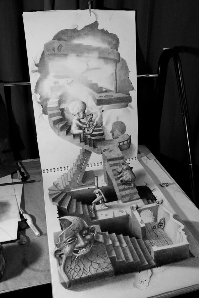 Anamorphic 3D Pencil Drawings byFredo