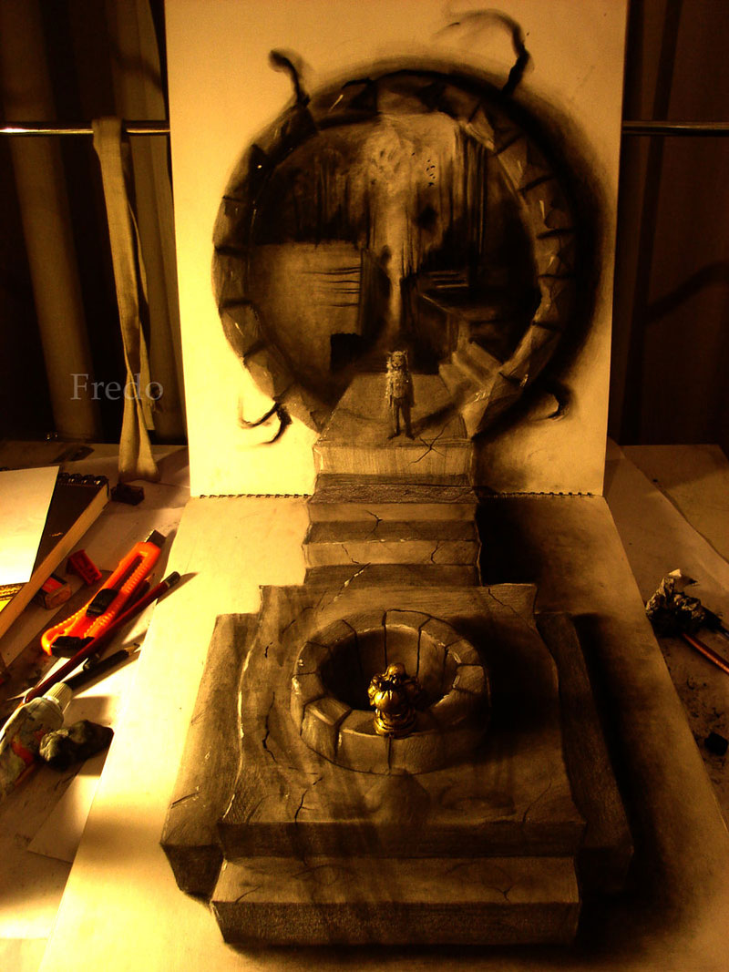 Anamorphic 3D Pencil Drawings by Fredo (5)