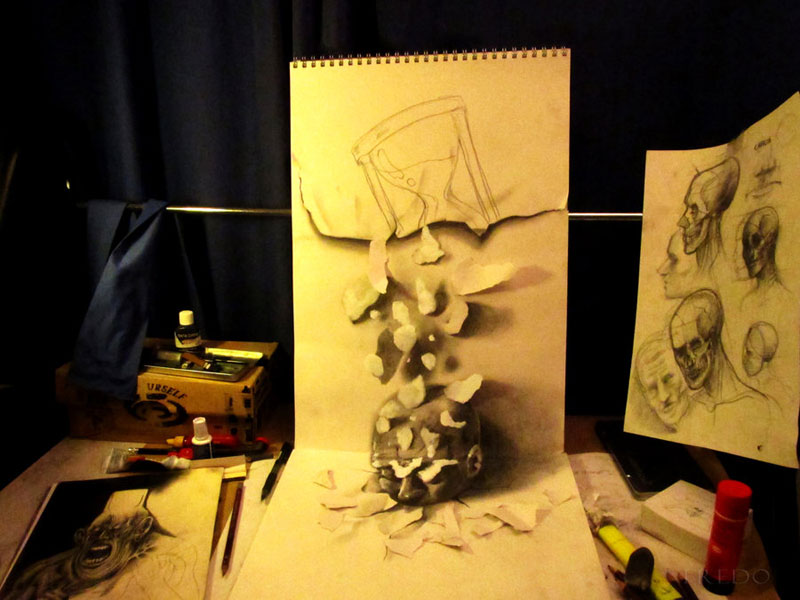 Anamorphic 3D Pencil Drawings by Fredo (7)