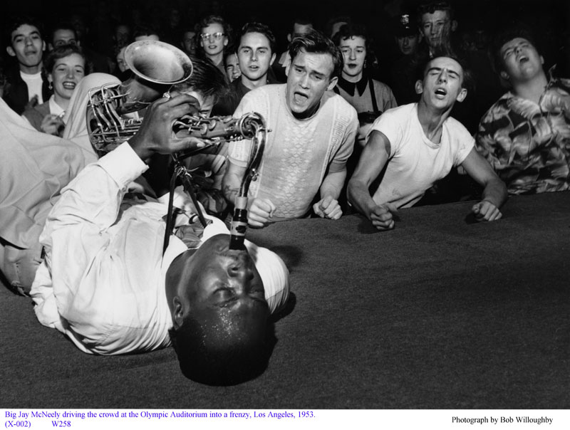 big jay mcneely on sax olympic auditorium la 1953 bob willoughby 20 Historic Black and White Photos Colorized