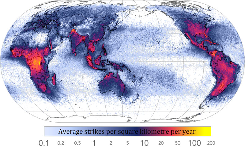 40 maps that will help you make sense of the world twistedsifter frequency of lightning strikes in the world 40 maps that will help you make sense of gumiabroncs Choice Image