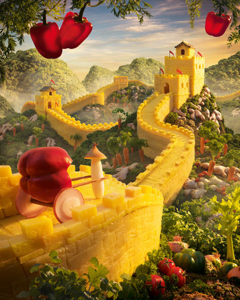 great wall of pineapple carl warner 15 Surreal Landscapes Made from Food