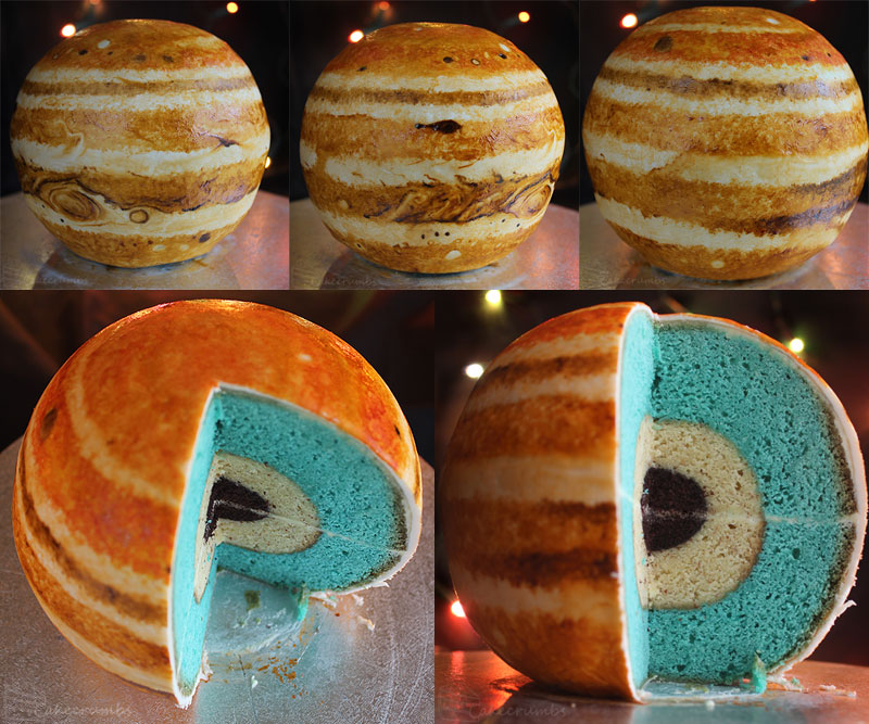 jupiter planet cake by cakecrumbs Spherical Layer Cake Planets by Cakecrumbs
