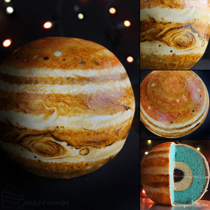 jupiter planet cake by cakecrumbs 3 Spherical Layer Cake Planets by Cakecrumbs