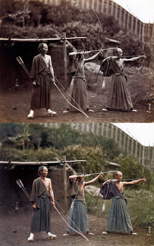 Kyudoka--Japanese-Archers-c1860-photo-chopshop-original
