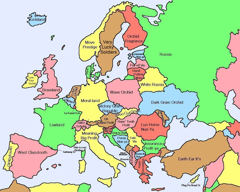Maps Galore Literal-map-of-europe-by-chinese-name