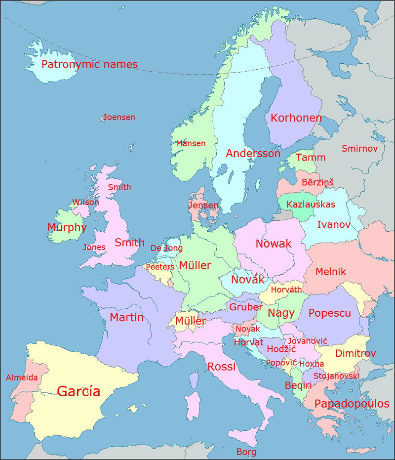 map of most common surnames in europe 40 Maps That Will Help You Make Sense of the World