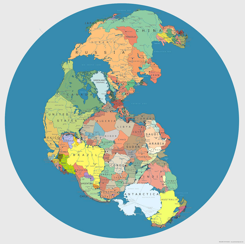 Maps Galore Map-of-pangea-with-current-internatoinal-borders