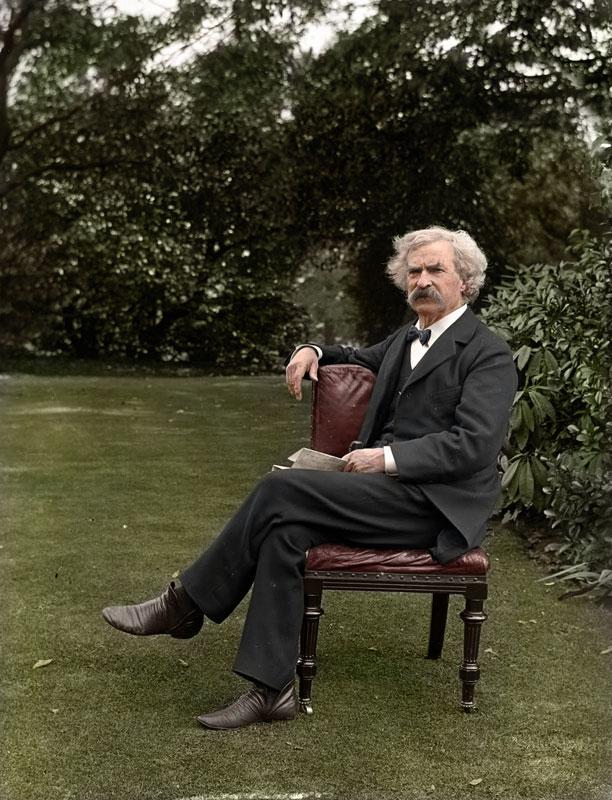 Mark-Twain-in-the-garden,-ca