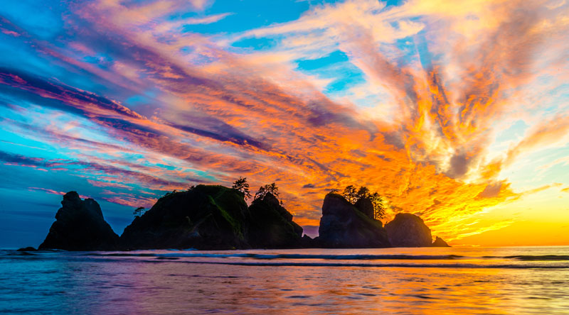 sunset shi shi beach olympic national park washington Picture of the Day: Electric Sunset at Shi Shi Beach