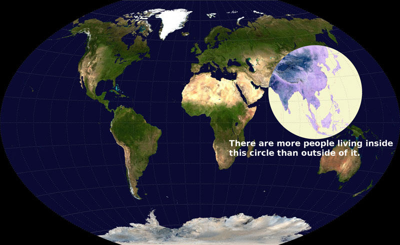 there are more people living inside this circle than outside of it If the World were Represented by 100 people this is What it Would Look Like